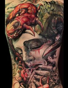 Mad Science Tattoo Den Haag Leslie Reesen backpiece full color