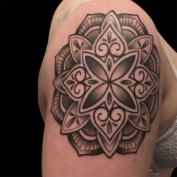 Cameron Randall black and grey mandala geometric