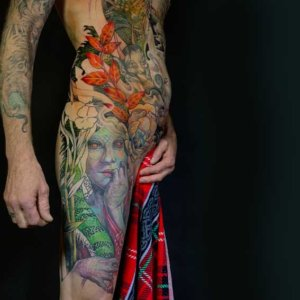 Mad Science Tattoo Den Haag Leslie Reesen bodysuit full color neotraditional