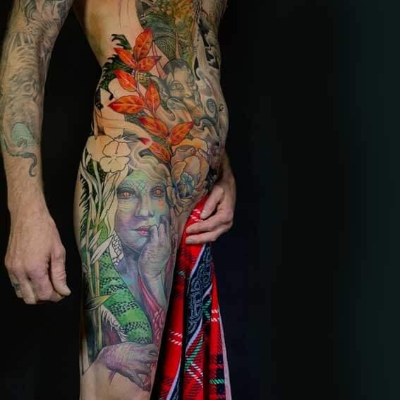 Mad Science Tattoo Den Haag Leslie Reesen bodysuit full color neotraditional