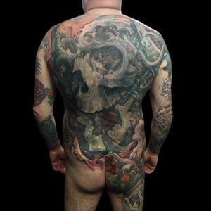 Mad Science Tattoo Den Haag Leslie Reesen rugstuk back piece doodshoofd skull
