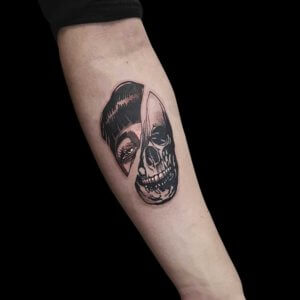 Mad Science Tattoo Den Haag Albert Nijssen two faced vrouwengezicht en skull doodskop