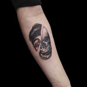 Mad Science Tattoo Den Haag Albert Nijssen two faced vrouwengezicht en skull doodskop