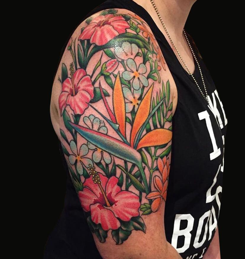 Cameron Randall full color flower tattoo