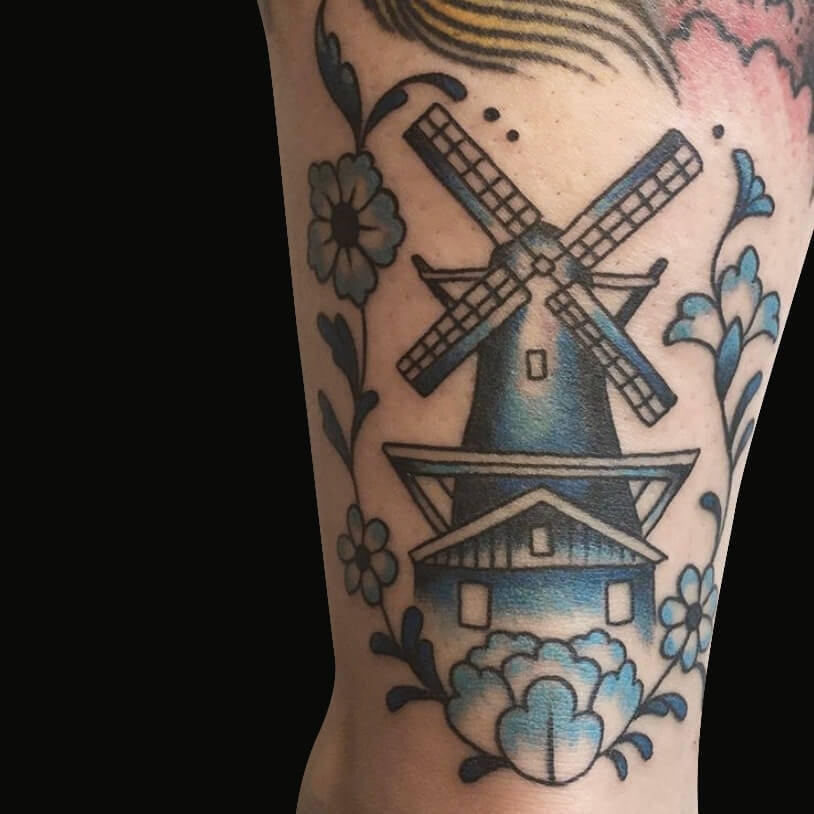 delfts blauwe Hollandse molen