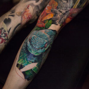 Mad-Science-Tattoo-Den-Haag-Grote-markt-leslie-reesenanimals-dieren-tattoo-gorilla-aap-ape-slang-chimpanse-full-color-leg-sleeve3-klein
